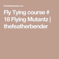 Fly Tying course # 18 Flying Mutantz   thefeatherbender