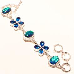 AUSTRLIAN TRIPLET OPAL,BLUE TOPAZ GEMSTONE 925 SILVER BRACELET #Handmade #Chain
