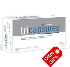 Tricapsures® capsule: preparato a base di Capsaicina, Curcumina, Resveratrolo, Serenoa repens e Cannella pensato come coadiuvante per la cura dei problemi di capelli come alopecia e effluvio nella donna.