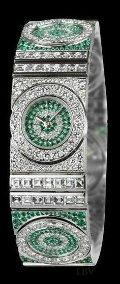 Boucheron – Fox Trot, , White Gold, Diamonds and Emeralds LBV ♥✤
