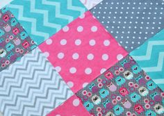 """36 - 6.5"""" Pre-Cut Flannel Squares for Baby Girl Patchwork Quilt Top or Rag Quilt Owls Gray Aqua Pink Chevrons Dots Adorable DIY Quilt Kit on Etsy, $16.99"""
