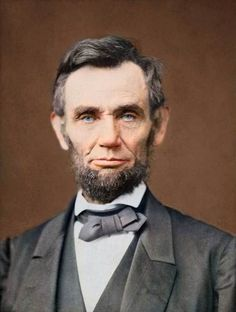 Abraham Lincoln, head-and-shoulders portrait, facing front.