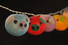 Handmade Cotton Ball String Lights - Lovely Pig Mixed Colour for Party Wedding and Decorations    - UL Listed String Lights for USA&CA (Connected-To-Connected Cable)  - CE Certified for European  - CE Certified for UK  - Certified for AU    Other Country : 20 String Lights/Set : We will provide adapter for you relates to your country (based on address on Paypal account), or you can clarify your request by marked in comment or email us. Thank you.    - Each of the cotton balls are about 6 cm…