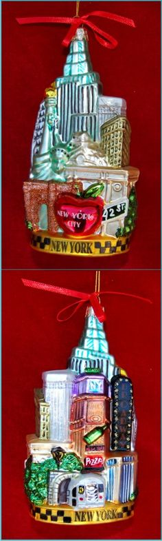 The Big Apple New York Cityscape Personalized Christmas Ornament