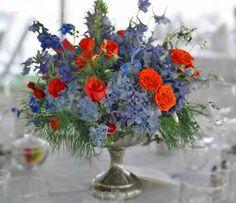 wedding flowers in blue and orange | Photos: Bonnie Farmer