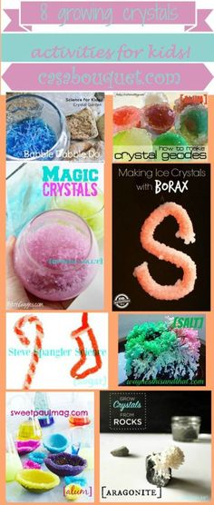 Growing crystals teach crystal structure and saturated solutions. 8 examples of how to grow crystals and experiment are provided. Borax Crystals, Diy Crystals, Large Crystals, Activities For Kids, Crafts For Kids, Diy Crafts, Geode Eggs, Babble Dabble Do, Growing Crystals