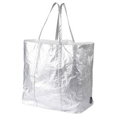 IKEA - FREKVENS, Tote bag large, silver color, Everything stays safely inside, as the bag closes tightly with a drawstring. Comfortable to carry both in your hand and over your shoulder as the handle is extra wide. Large Storage Bags, Large Bags, Bag Storage, Lava, Christmas Tree Storage, Everything Stays, Recycling Facility, Ikea Family, Planks