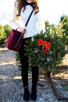 velvet crossbody bag | vera bradley hobo bag | holiday outfit idea for women | stylish christmas outfit