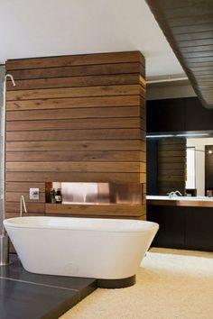 Great Minimalist Modern Bathroom Ideas - Home of Pondo - Home Design Bad Inspiration, Bathroom Inspiration, Bathroom Ideas, Wood Panel Bathroom, Teak Bathroom, Bathroom Wall Cladding, Bathroom Beadboard, Neutral Bathroom, Simple Bathroom