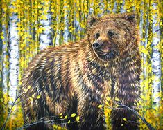 Colorful Contemporary Grizzly Bear in Yellow Aspen Trees Art Painting   Contemporary Western Wildlife Art by Animal Artist Teshia  Original Paintings & Art Prints www.TeshiaArt.com