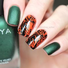 Cat tiger #nailstamping shared by @valentina_scher, more details shared in bornprettystore.com. #naildesign
