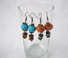 Turquoise dangle earrings polymer clay faux by MosaicArtJewelery