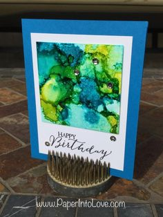 Happy Birthday card made using alcohol inks and Yupo paper