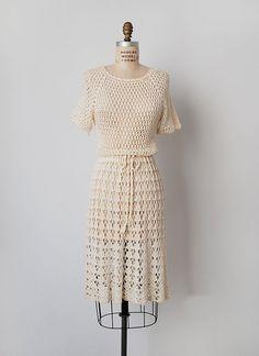 vintage 1970s crochet dress / cotton crochet dress / от cutxpaste