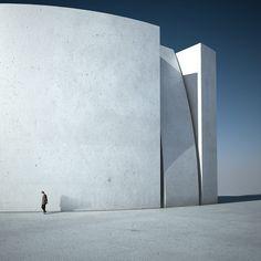 Michele Durazzi Creates Surreal Minimalist Architecture Images // bent wall, glitch in the system - remember Serkal Art Et Architecture, Concrete Architecture, Minimal Architecture, Futuristic Architecture, Contemporary Architecture, Amazing Architecture, Architecture Details, Contemporary Design, Concrete Building