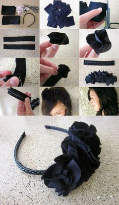 Niedliche DIY Stirnband Haarschmuck, die so einfach zu tun sind Cute DIY headband hair accessories that are so easy to do Headband Hairstyles, Diy Hairstyles, Fascinator Diy, Fascinators, Fabric Flower Headbands, Diy Headband, Diy Ribbon, Cute Diys, Hair Accessories For Women