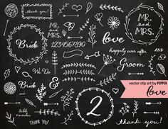 Check out Doodle Chalkboard Wedding Elements by Pepper on Creative Market