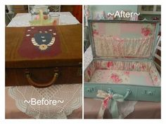 ~Shabby+Suitcase+Makeover~+-+Perfect+project+for+those+old+vintage+cases.+From+drab+to+shab! This+project+was+a+labour+of+love+because+the+su