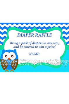 Owl Diaper Raffle Ticket Boy Owl Baby Shower by BabyShowerBakery Baby Shower Game Prizes, Baby Shower Fun, Baby Shower Gender Reveal, Baby Showers, Diaper Shower, Pack Of Diapers, Diaper Raffle Tickets, Baby Owls, Trendy Baby
