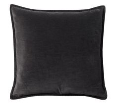 Washed Velvet Pillow Cover 20 - pillows for formal living room - in Ebony
