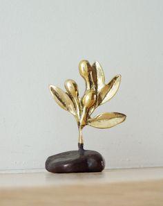 Olive branch sculpture, solid brass olive branch on an oxidised base, Greek folk art sculpture