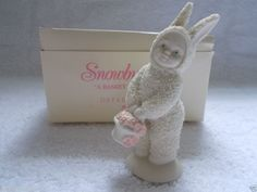 """Dept. 56 Snowbunnies """"A Basket of Cheer"""" #56.05725 Bunny with Flower Basket"""