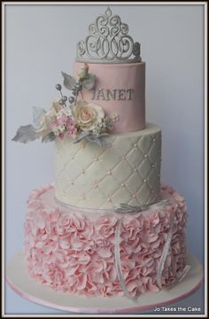 A cake ordered in a pink and white princess theme for an adult