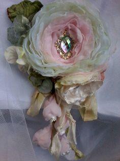 tattered pink shabby rose brooch whimsical hair flower