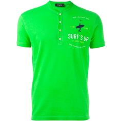Dsquared2 henley T-shirt ($105) ❤ liked on Polyvore featuring men's fashion, men's clothing, men's shirts, men's t-shirts, green, mens cotton t shirts, mens green shirt, mens straight hem shirts, mens print shirts and mens cotton shirts