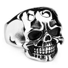Justeel Jewelry Huge 316L Stainless Steel Ring Band Men Biker Silver Gothic Skull Devil