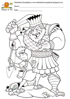 david and goliath coloring picture Sunday School Activities, Sunday School Crafts, David Und Goliath, Sunday School Coloring Pages, Abraham And Sarah, Bible Study For Kids, Bible Coloring Pages, Kids English, Catechism