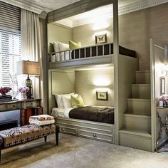 The Coolest Bunk Beds – Ideas for the House – einrichtungsideen wohnzimmer Bunk Bed Rooms, Bunk Beds Built In, Bunk Beds With Stairs, Cool Bunk Beds, Kid Bedrooms, Trendy Bedroom, Cozy Bedroom, Bedroom Decor, Rustic Bedroom Design