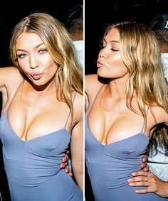 Gigi is an absolute goddess.  - Gigi Hadid style - pale blue dress and lots of highlighter!