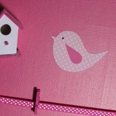 Pêle-mêle photos / tableau - oiseaux rose et nichoir rose - Déco murale chambre enfant, garçon, fille, bébé . Cadeau de naissance. décoration….by Little-Klo.