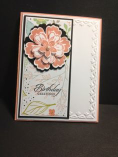 handmde birthday card from My Creative Corner! ... gorgeous layered stamped and punched flower ... luv the soft peach color ...  Stampin'Up!