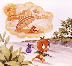Artwork from the album The Story and Songs of the Orange Bird helps tell the Orange Bird's story.