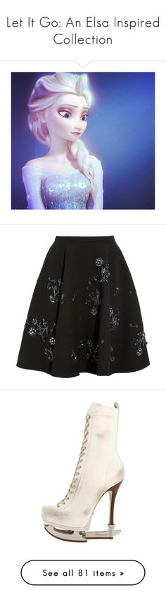 """Let It Go: An Elsa Inspired Collection"" by mygypsyheart ❤ liked on Polyvore featuring disney, frozen, skirts, bottoms, miu miu, black, crepe skirt, wool skirt, beaded skirt and embellished skirt"