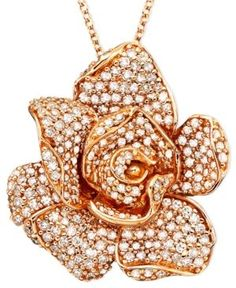 Pave Rose by Effy Diamond Flower Pendant Necklace in 14k Rose Gold (1/3 ct. t.w.)