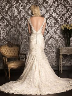 Reserved listing for Amy- Vintage Lace Wedding Dress with Deep V Back and Cap Sleeves CUSTOM. $414.00, via Etsy.