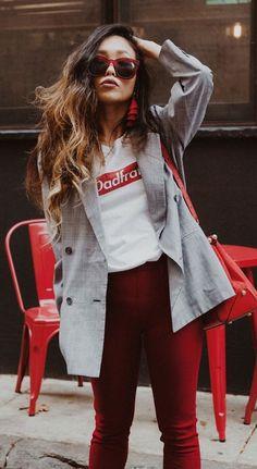#fall #outfits  women's gray blazer