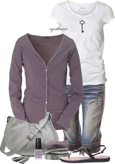 """Spring Comfort"" by cynthia335 on Polyvore (not the white tee..I'd soften the look for T2 with dyt chocolate milk soft tee)"