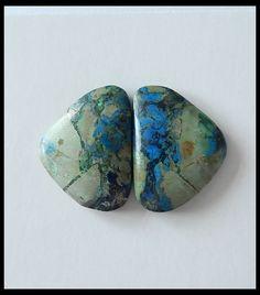 25.8 ct Natural Chrysocolla Gemstone Pair