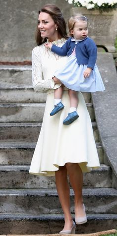 For an afternoon outing with Prince George and Princess Charlotte in Victoria, Canada, the duchess wore a cream pointelle-knit See by Chloé dress with a demure collar and long sleeves and beige Monsoon wedges. from InStyle.com