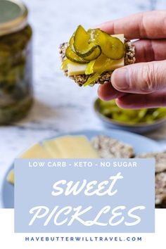 These delicious keto bread and butter pickles are perfect keto condiment. They are great to have in the fridge for keto hot dogs and burgers. Veg Recipes, Sauce Recipes, Low Carb Recipes, Bread & Butter Pickles, Bread N Butter, Sugar Free Bread, Keto Ketchup, Low Carb Bbq Sauce, Bunless Burger