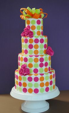 Pink, green & orange - A Piece O' Cake.I'm in Love with this cake! Gorgeous Cakes, Pretty Cakes, Amazing Cakes, Unique Cakes, Creative Cakes, Polka Dot Cakes, Polka Dots, Fantasy Cake, Just Cakes