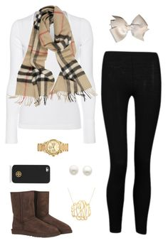 """Burberry Scarf"" by preppy-otd ❤ liked on Polyvore featuring Influence, Splendid, Burberry, UGG Australia, Tory Burch, Michael Kors and Reeds Jewelers"