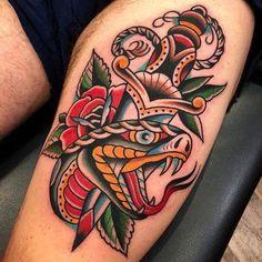 Traditional Dagger Tattoo, Traditional Tattoo Old School, Traditional Tattoo Flash, Traditional Tattoo Meanings, Sanduhr Tattoo Old School, Old School Tattoo Designs, Head Tattoos, Body Art Tattoos, Sleeve Tattoos