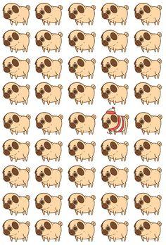 Where's Waldo-esque Pugs Pug Wallpaper, Iphone 6 Wallpaper, Kawaii Wallpaper, Pattern Wallpaper, Wallpaper Backgrounds, Kawaii Drawings, Cute Drawings, Dog Tumblr, Dog Phone