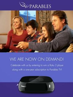 Win a Roku 3 player + full year subscription to Parables TV | All kinds of Giveaways in one place! Daily Updating! Why bother wasting your t...