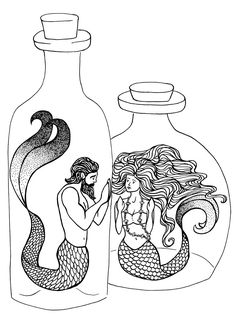 Mermaid Lovers - - - NEW coloring page by Katie Harvey